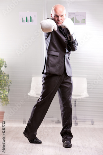 fighting business man upright and ready