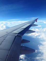 aircraft wing on tle sky