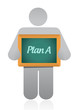 avatar holding a plan b sign. illustration design