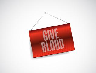 give blood hanging sign illustration design