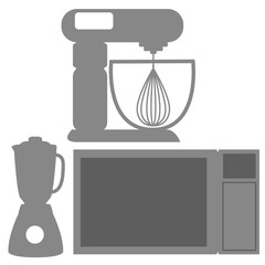Icons Of Silhouettes Of Kitchen Elements Isolated