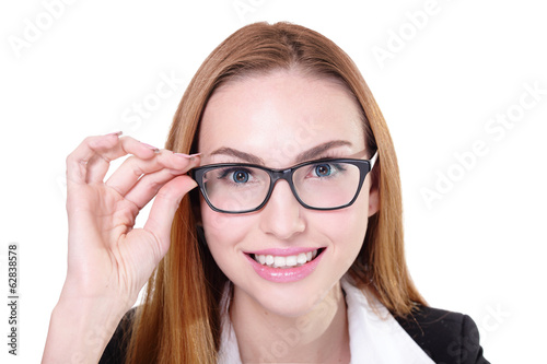 Business woman happy with eyeglasses