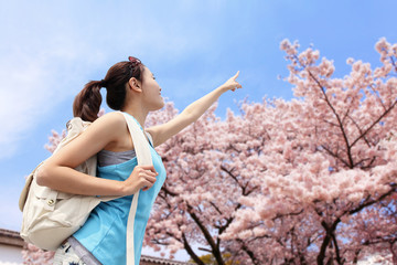Happy woman pointing to sakura tree