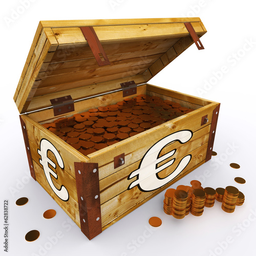 Euro Chest Of Coins Shows European Prosperity And Economy
