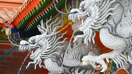 Dragon Statue Spray Water In Chinese Temple