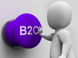 B2C Button Shows Business To Consumer And Selling poster