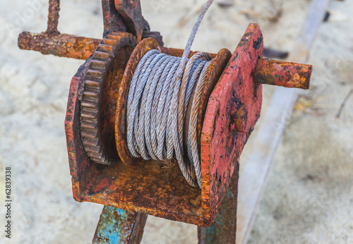 Rusted steel wire rope