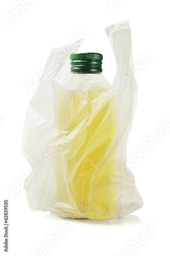 Bottle Of Olive Oil In Plastic Bag