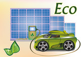 Banner Ecology car , solar panels . poster
