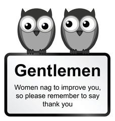 Monochrome comical women nag sign