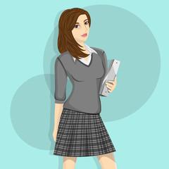 Catholic School Girl Illustration