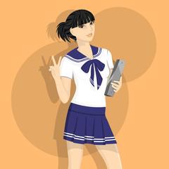 Japanese School Girl Illustration