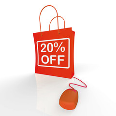 Twenty Percent Off Bag Represents Online 20 Sales and Discounts
