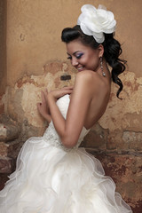 Beautiful brunette bride in antique style