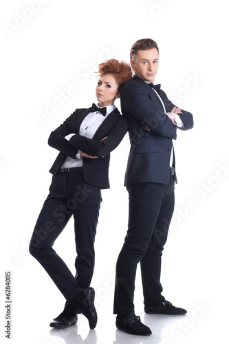 Attractive young businessmen posing at camera