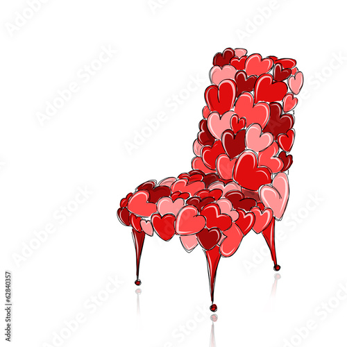 Love chair red for your design