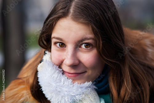 Beautiful woman in warm clothing