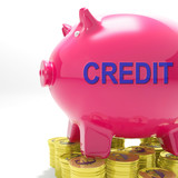 Credit Piggy Bank Means Financing From Creditors poster