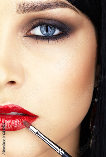 close-up shot of woman lips makeup