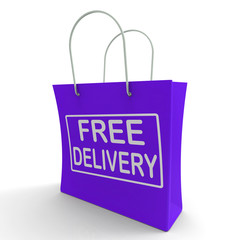 Free Delivery Shopping Bag Showing No Charge Or Gratis To Delive