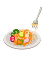 Dish of spaghetti