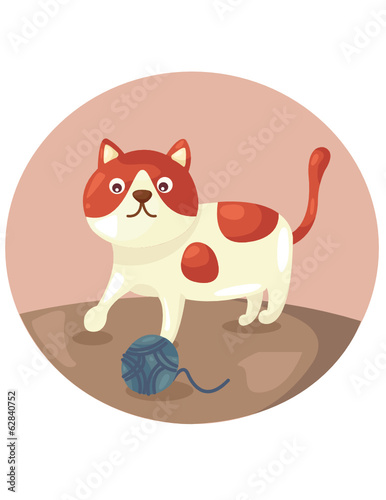cute cat playing yarns