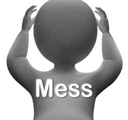 Mess Character Shows Chaos Disorder And Confusion
