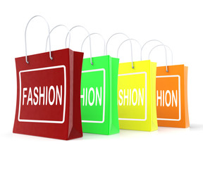 Fashion Shopping Bags Shows Fashionable Trendy And Stylish