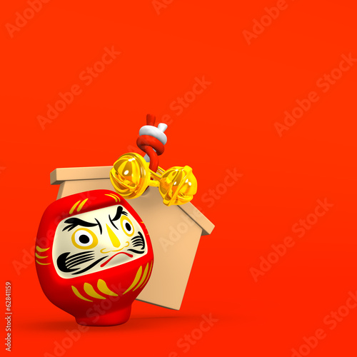 Votive Picture And Daruma Doll With Red Text Space