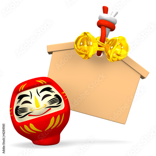 Front View Of Empty Votive Picture And Smile Daruma Doll