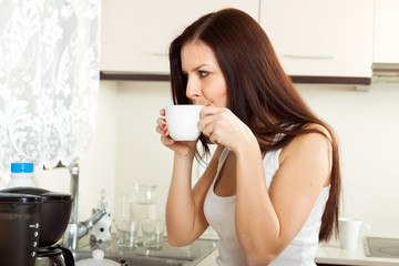 girl  drinking coffee.