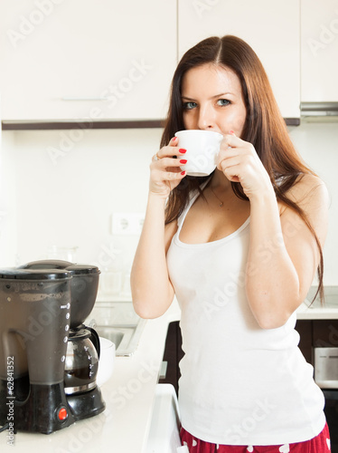 cute girl  drinking coffee.