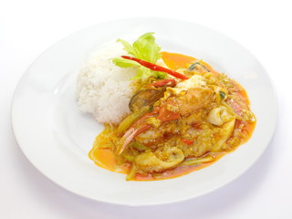 stir - fried crab with curry powder and white rice