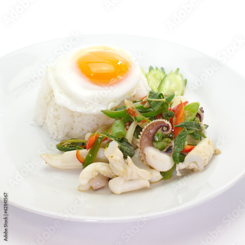 fried basil leave with squid and white rice ,fried egg