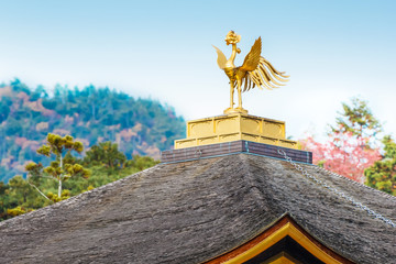 Phoenix bird on the roof of Kinkaku-ji Temple in Kyoto