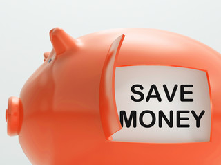Save Money Piggy Bank Shows Putting Aside Funds