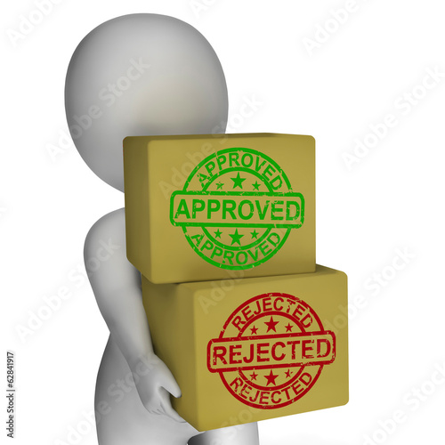 Approved Rejected  Boxes Mean Product Tests Or Checking Quality