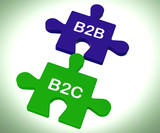 B2B And B2C Puzzle Shows Corporate Partnership Or Consumer Relat poster