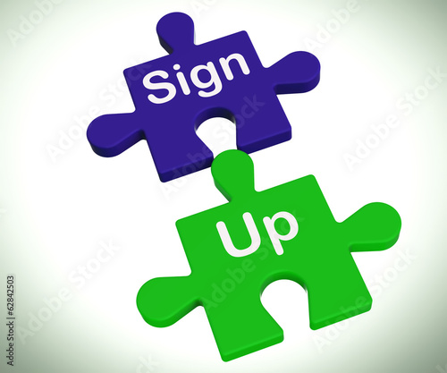 Sign Up Puzzle Shows Joining Or Membership