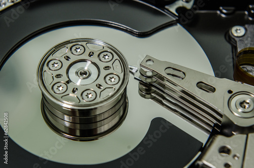closeup of harddisk