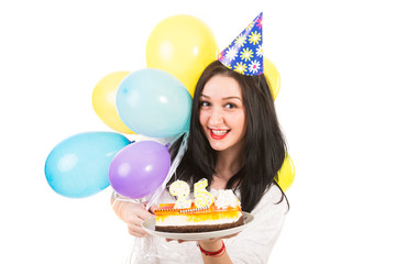Cheerful woman celebrate her birthday