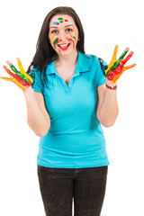 Happy woman showing painted hands