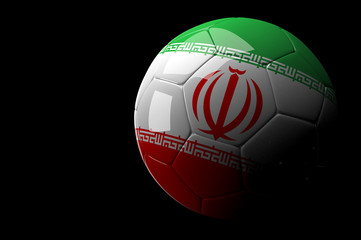 Iran soccer ball on dark background