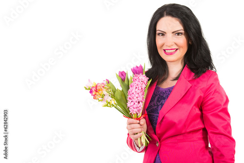 Spring woman holding flowers