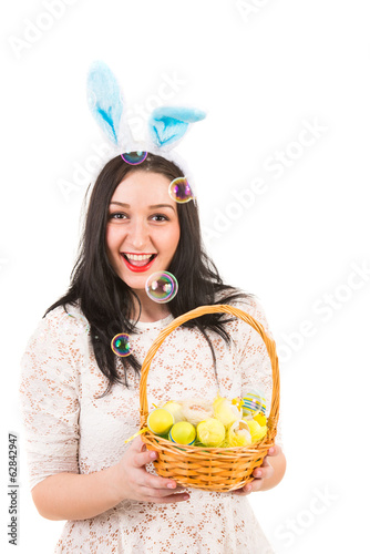 Cheerful Easter woman with soap bubbles