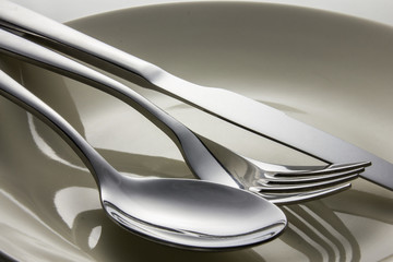 Metal spoon and fork on dish.