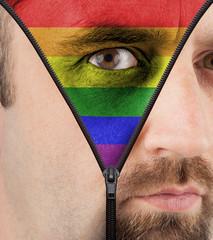 Unzipping face to rainbow flag
