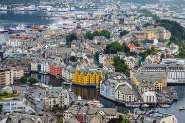 Alesund, Norway - town houses on sea front
