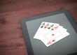 poker cards on digital tablet pc, concept of texas poker online