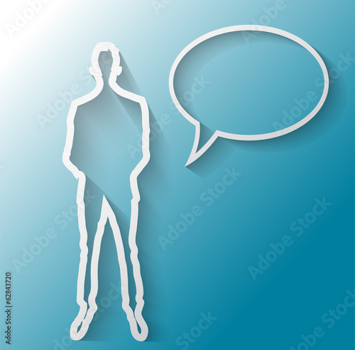 Illustration of business man with text balloon